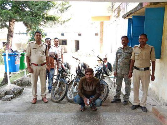 चोरी की 3 बाइक के साथ दो नाबालिग सहित 3 पकड़ाए